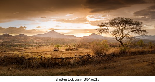 Evening view of the territory of the tribe Bana in Ethiopia.