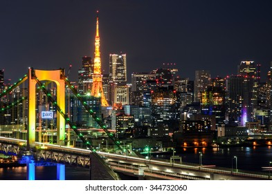 Evening View of Tokyo Tower, and Tokyo Skyline