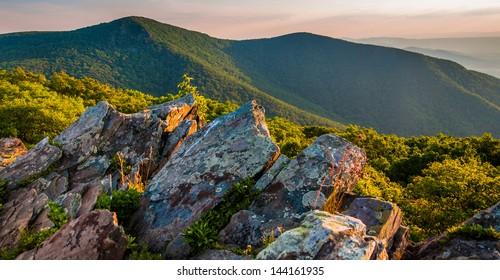 Evening view toward Hawksbill Summit from Betty's Rock, along the Appalachian Trail in Shenandoah National Park, Virginia.