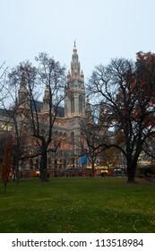 evening view of town hall in Vienna, Austria