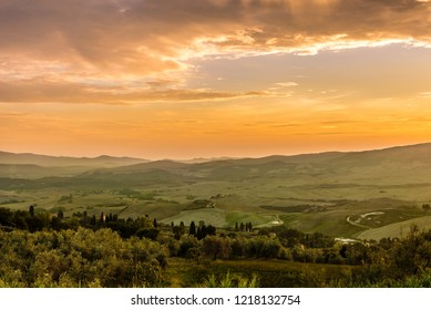 Evening view at the Tuscany countryside from Volterra - Italy