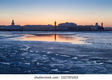 Evening view of the Vasilevsky arrow