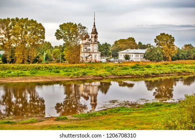 Evening view of the Vologda River and the Church of the Presentation of the Lord. Vologda. Russia
