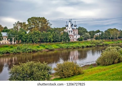 Evening view of the Vologda River and the Church of St. John Chrysostom. Vologda. Russia