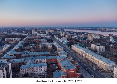 Evening Voronezh downtown. Aerial view from height to Revolution prospect - central street of Voronezh.