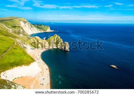 An evening walk in July around Durdle Door and over Swyre head near West Lulworth in Dorset south west England