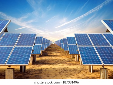 In the evening, when the solar panels