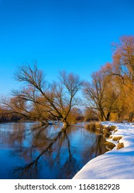 Evening winter river