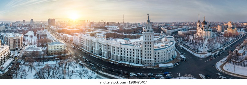 Evening winter Voronezh, aerial panoramic view from drone to central part of Voronezh downtown.