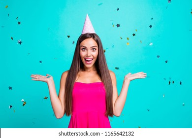Event anniversary decoration people person concept. Close up photo portrait of pretty cute charming lovely cheerful joyful lady funny facial expression gesturing with hands isolated bright background