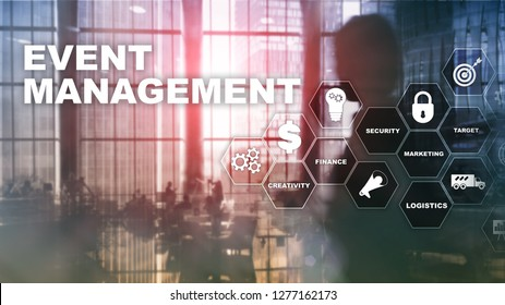 Event management Concept. Event management flowchart. Event management related items. Mixed media business.