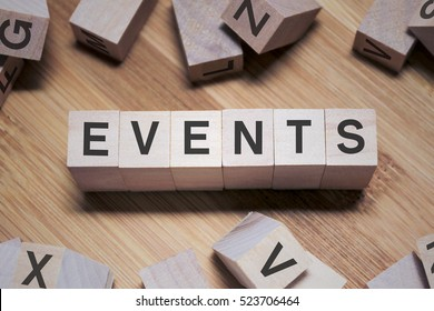 Event Word Written In Wooden Cube