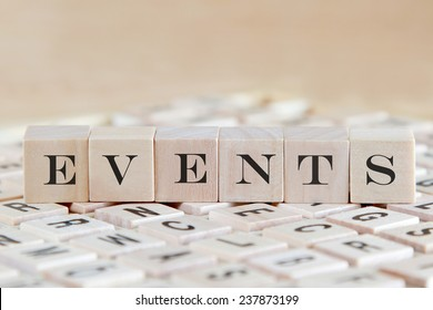 events word background on wood blocks