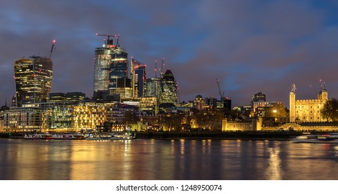 The ever changing skyline of London on the River Thames
