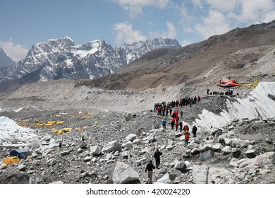 EVEREST BAS CAMP, NEPAL - APRIL 24, 2014: Dozens of Sherpa guides left the Mount Everest base camp in protest. The walkout came a week after 16 Sherpas were killed in an avalanche on Everest.