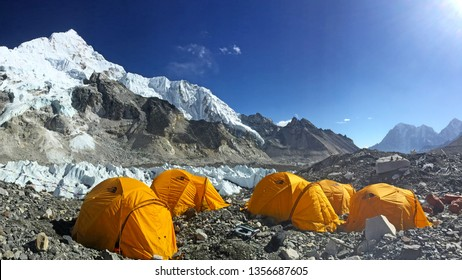 EVEREST BASE CAMP, NEPAL, 20 October 2018 - View from Mount Everest base camp, tents and prayer flags, sagarmatha national park, trek to Everest base camp - Nepal