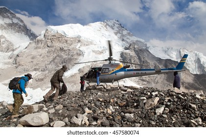 EVEREST BASE CAMP, NEPAL, 27th APRIL 2016 - helicopper in Mount Everest base camp and mount Nuptse, Nepal