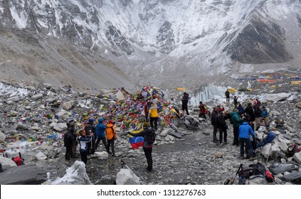 EVEREST BASE CAMP, NEPAL, MAY 9, 2017: Climbers arrive at Everest Base Camp which is the main base for climbing teams to the summit of Mount Everest as high as 8,848 meters.