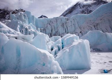 EVEREST BASE CAMP, NEPAL- sagarmatha national park, view of Khumbu glacier