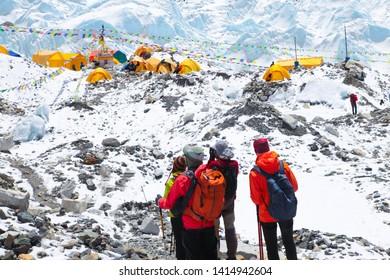 Everest base camp, Nepal-May 5, 2019: Hikers enjoing magnificent view of Mount Everest base camp, Khumbu glacier , sagarmatha national park, trek to Everest base camp