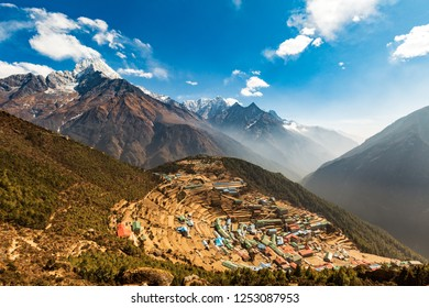 Everest Base Camp Trek. View of the Himalayan valley. The village of Namche bazar. Nepal.