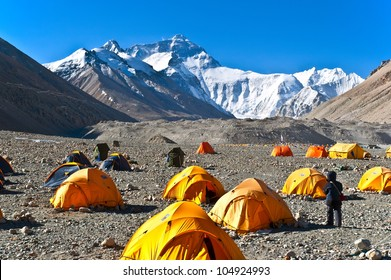 Everest (Mount Qomolangma). Taken in the base camp of north side Everest. Over here, altitude is 5200m.