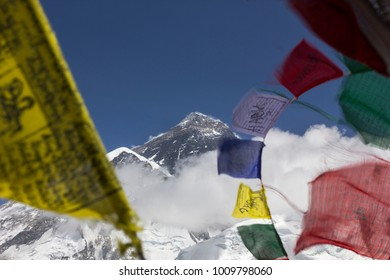 Everest mountain peak seen from Kalapathar in Everest region, Nepal.