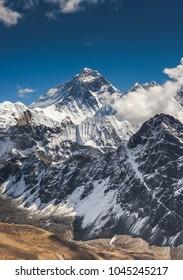 Everest summit captured from Gokyo Ri peak in Himalayas, trekking in Nepal
