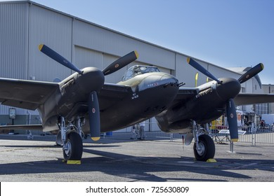 Everett, WA Aug 26, 2017 - A rare, air worthy DeHavilland Mosquito parked at Paine Field's Flying Heritage Collection Museum