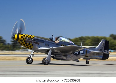 Everett, WA Aug 26, 2017 - A North American P-51 Mustang Taxis by at Paine Field