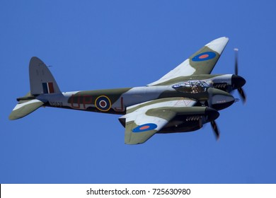 Everett, WA Aug 26, 2017 - A rare, air worthy DeHavilland Mosquito performs a fly by at Paine Field