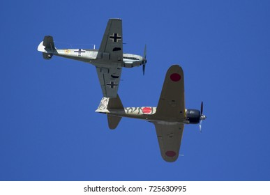 Everett, WA Aug 26, 2017 - A Mitsubishi A6M Zero and Messerschmidt BF-109 perform a formation fly by at Paine Field