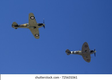 Everett, WA Aug 26, 2017 - A Supermarine Spitfire and Hawker Hurricane perform a flyby at Paine Field