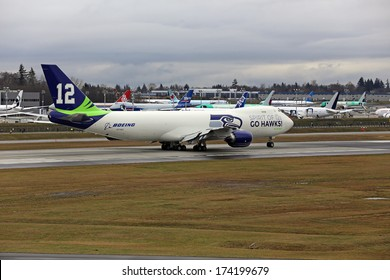 EVERETT, WA - JAN 31: Boeing unveils Seattle Seahawks 747 plane in celebration of the Seahawks going to the Super Bowl, on Jan 31, 2014 in Everett, Washington