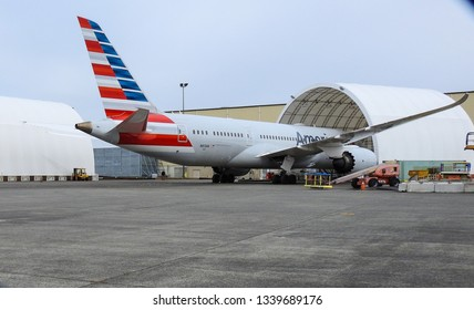 Everett, WA / USA - 03/14/2019: The US Federal Aviation Administration grounded all Boeing 373 Max aircraft in the US after Ethopian crash,  This aircraft is being serviced in Washington.