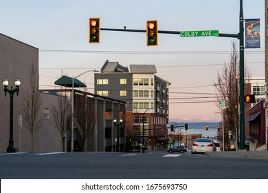 Everett, WA - USA / 0317/2020 - Downtown looking west to the Puget Sound