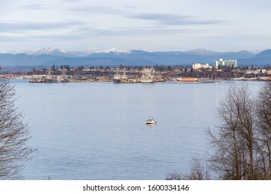 Everett, WA. - USA / 12/25/2019: Port Gardner with a view of the Naval Base and City Buildings