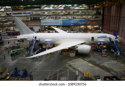 EVERETT (WA), USA – JANUARY 30 2015: Unidentified Boeing employees continue work building a Boeing 787 jets at its Everett factory, including for Australian low-cost airline Jetstar.