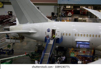 EVERETT (WA), USA – JANUARY 30 2015: Unidentified Boeing employees continue work building a Boeing 787 jets at its Everett factory.