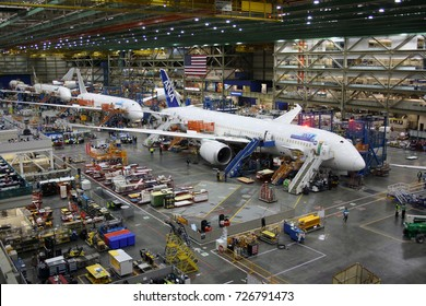 EVERETT (WA), USA – JANUARY 30 2015: Unidentified Boeing employees continue work building a Boeing 787 jets at its Everett factory, including for Japanese airline All Nippon Airways (ANA).
