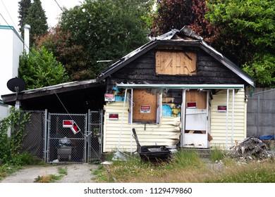Everett, WA / USA / July 1, 2018: House fire damage