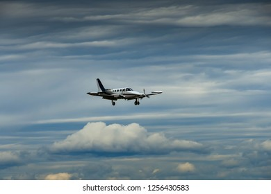 EVERETT, WAS, USA - JUNE 2018: Cessna 340 twin-engined propellor aircraft coming into land at Everett.