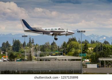 EVERETT, WAS, USA - JUNE 2018: Cessna 340 twin engined light aircraft landing at Everett.