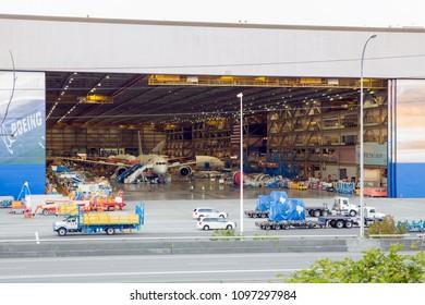 EVERETT, WASHINGTON - JULY 2, 2015: The 787 Dreamliner production line in Everett, Washington.