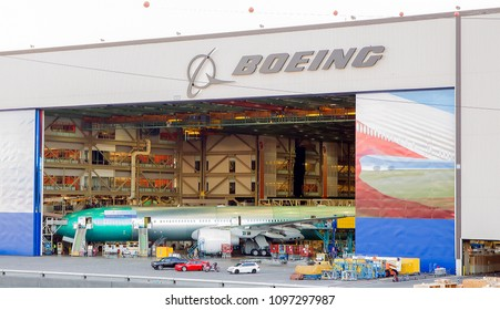 EVERETT, WASHINGTON - JULY 2, 2016: The Forty-First 777 still in manufacture is slated for delivery to Saudi Arabian Airlines.