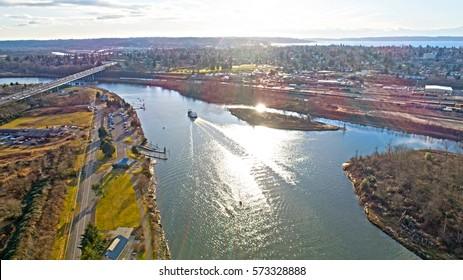 Everett Washington Snohomish River Aerial View