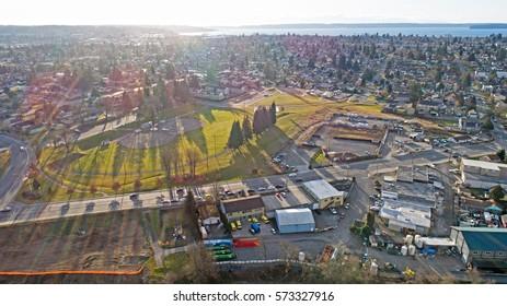 Everett Washington Sunny Day Aerial City View