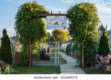 Everett, Washington/USA - 10/2/2019: Community Garden that is part of the low income housing project in North Everett.