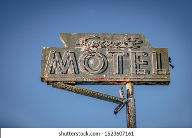 Everett, Washington/USA - 10/2/2019: The only remains of the Everett Motel on Broadway (old HWY 99).
