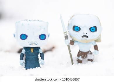 Everett, Washington/USA - February 10, 2019: Funko POP Night King and White Walker of the HBO series Game of Thrones displayed in a snow storm